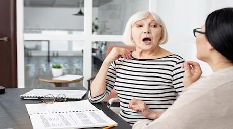 elderly woman during speech test